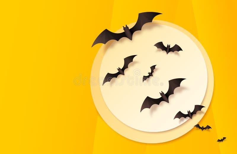 Fondo di carta arancio di Halloween di vettore di stile con la grande luna ed i pipistrelli neri che volano attraverso illustrazione di stock