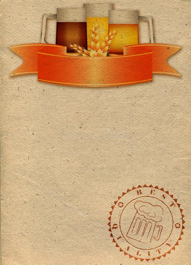 Fondo di carta con tre tazze di birra illustrazione vettoriale
