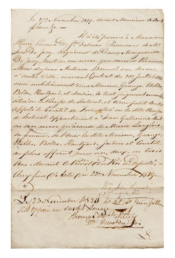 Fondo di carta d'annata di lerciume calligrafico antico della scrittura fotografia stock libera da diritti