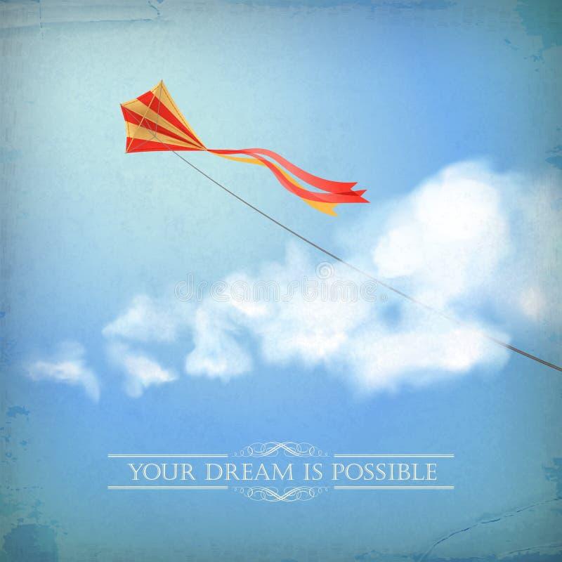 Fondo di carta del cielo dell'annata vecchio con la nuvola, testo illustrazione vettoriale