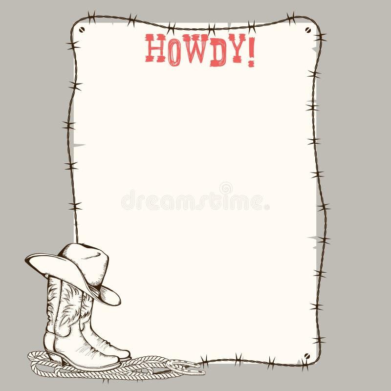 Fondo di carta del cowboy con gli stivali occidentali e cappello per testo illustrazione di stock
