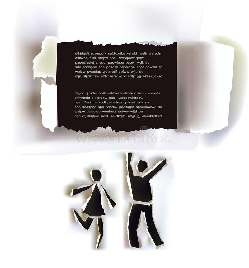 Fondo di carta della raccolta con le coppie felici illustrazione di stock