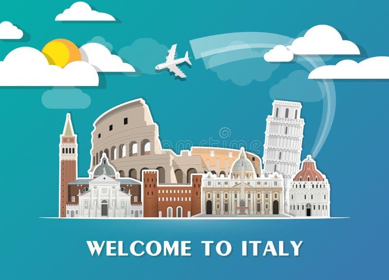 Fondo di carta globale di viaggio e di viaggio del punto di riferimento dell'Italia Modello di disegno di vettore usato per la vo illustrazione di stock