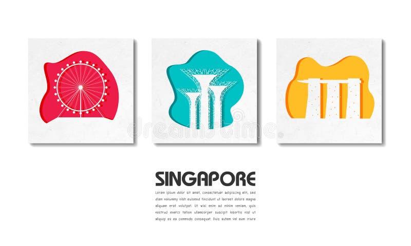 Fondo di carta globale di viaggio e di viaggio del punto di riferimento di Singapore Modello di disegno di vettore usato per la v illustrazione di stock