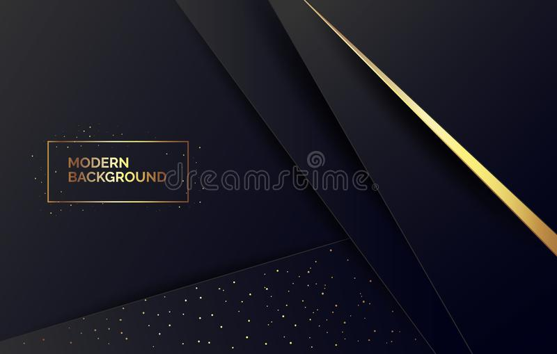 Fondo di carta nero con scintillio dorato, insegna per la presentazione, pagina d'atterraggio, sito Web dell'estratto illustrazione di stock