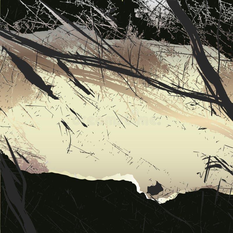 Fondo di carta spaventoso di lerciume con i bordi lacerati ed i punti illustrazione vettoriale