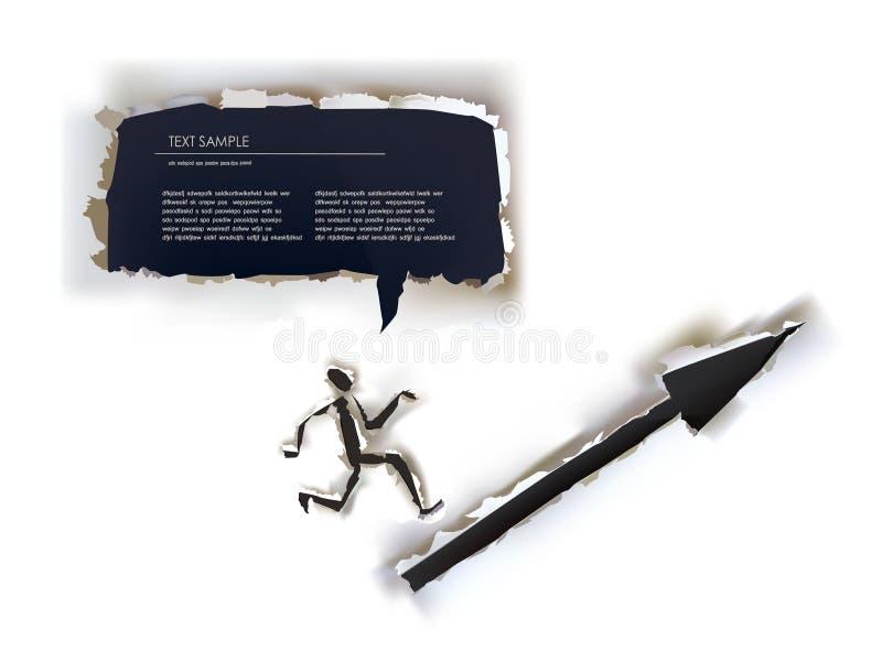 Fondo di carta strappato, segno dell'uomo del runnin royalty illustrazione gratis