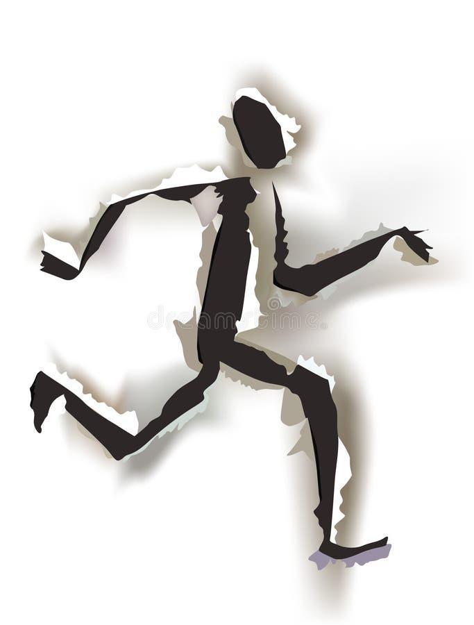 Fondo di carta strappato, segno dell'uomo del runnin illustrazione vettoriale
