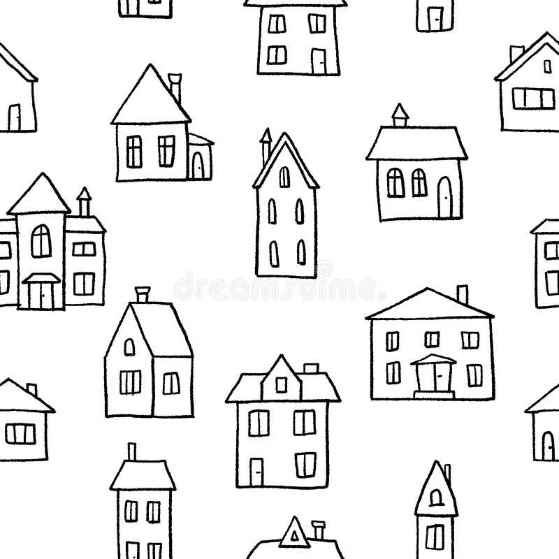 Fondo di case di scarabocchio royalty illustrazione gratis