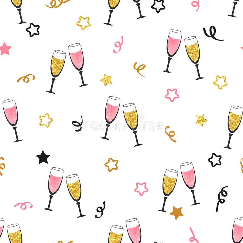 Fondo di celebrazione con i vetri del champagne illustrazione di stock