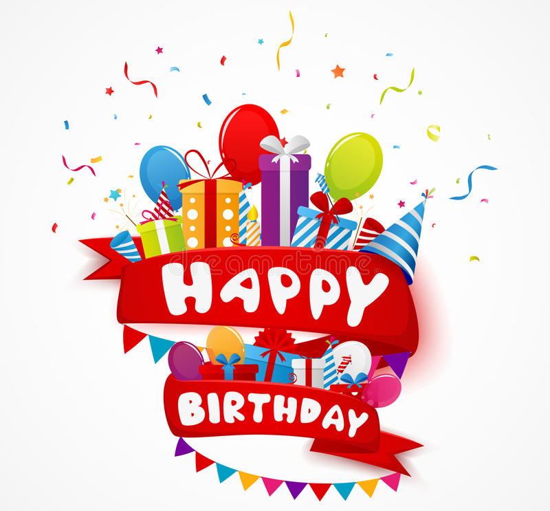 Fondo di celebrazione di compleanno con gli elementi del partito illustrazione vettoriale