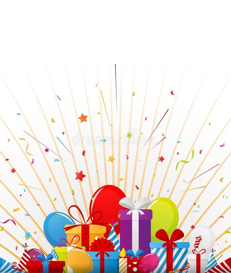Fondo di celebrazione di compleanno con gli elementi del partito illustrazione di stock