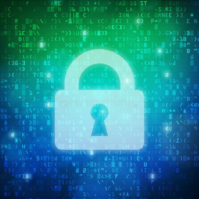 Fondo di codice di dati digitali del computer dell'icona del lucchetto di sicurezza illustrazione di stock