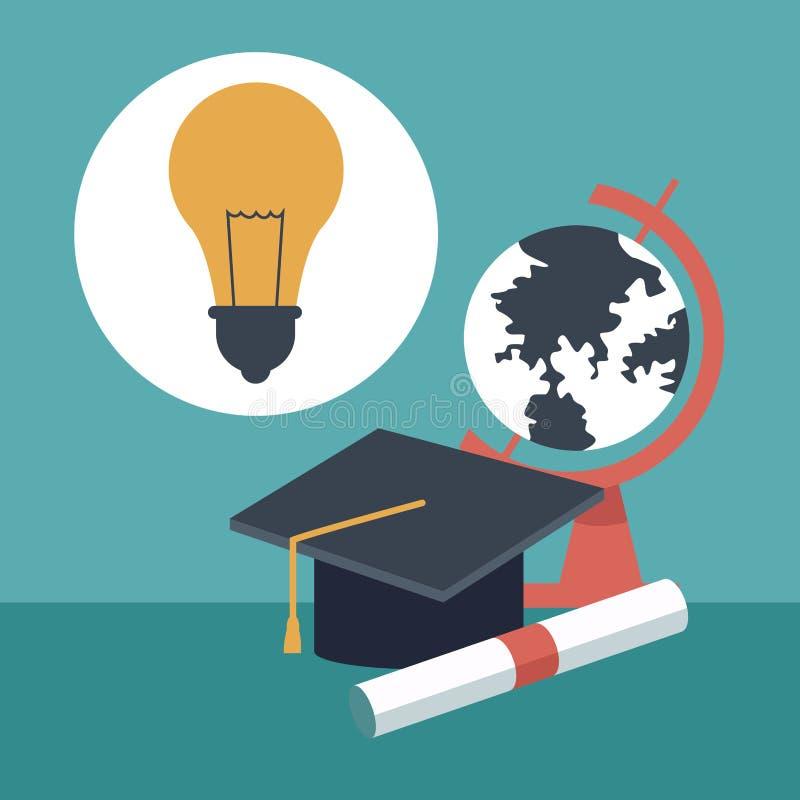 Fondo di colore con il cappuccio di graduazione del primo piano e diplomato con la mappa del globo e l'icona della lampadina illustrazione vettoriale
