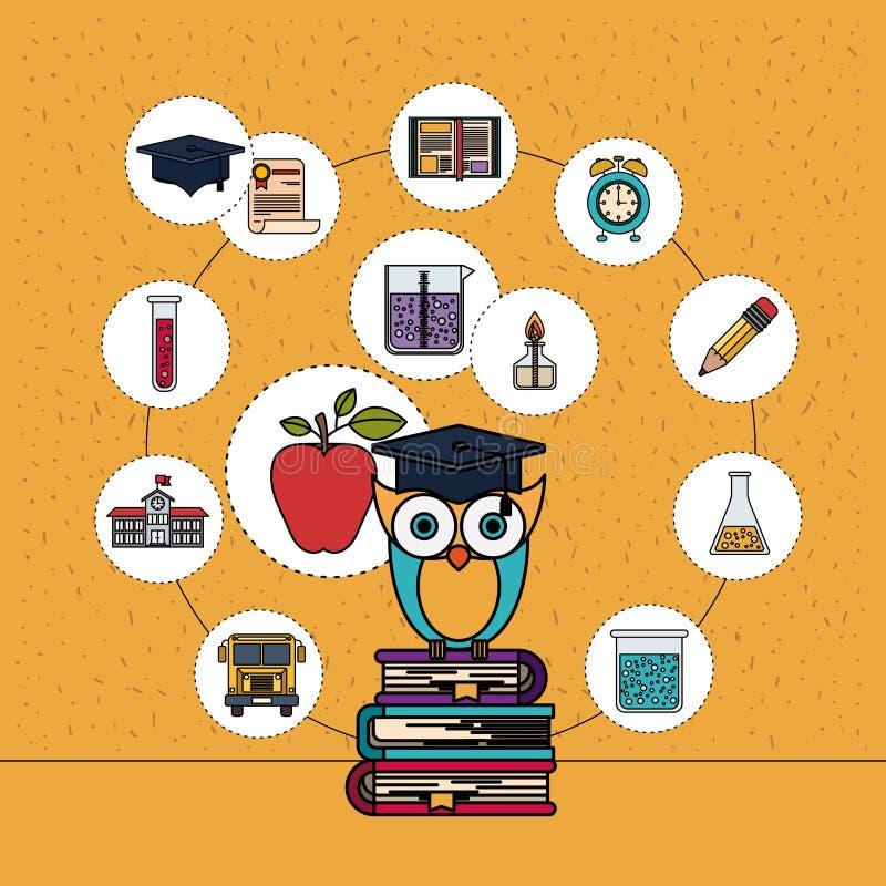 Fondo di colore con le scintille del gufo sulla pila di libri con le icone dell'elemento di istruzione illustrazione di stock