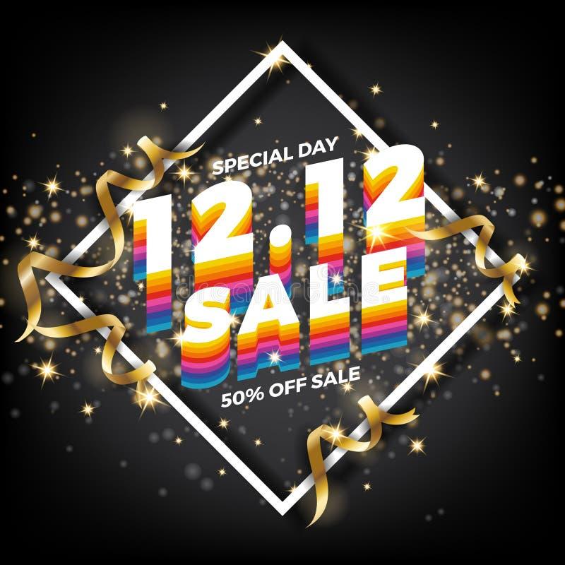 12 Fondo di compera dell'insegna di vendita di giorno 12 12 dicembre posta di vendita illustrazione di stock