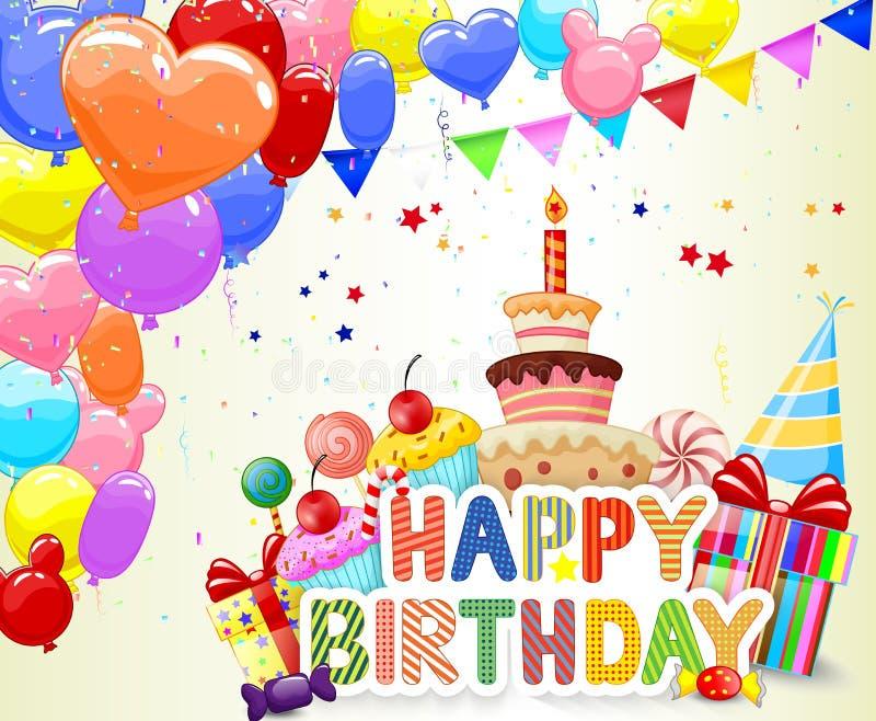 Fondo di compleanno del fumetto con il pallone variopinto e la torta di compleanno royalty illustrazione gratis