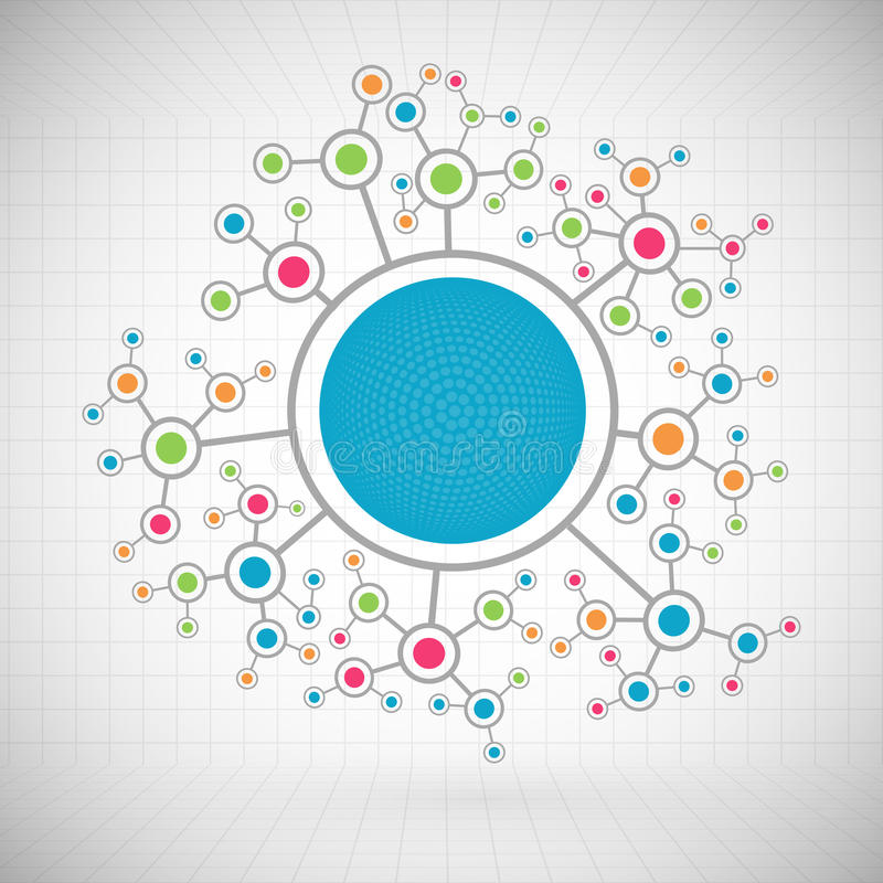 Fondo di comunicazione di tecnologia di colore della rete illustrazione di stock