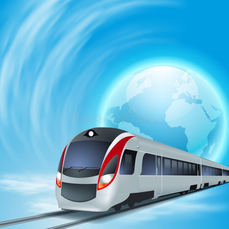 Fondo di concetto con il treno ad alta velocità. illustrazione di stock