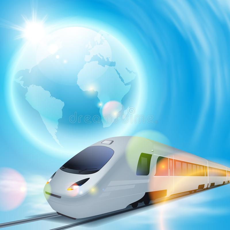 Fondo di concetto con il treno ad alta velocità ed il globo illustrazione di stock
