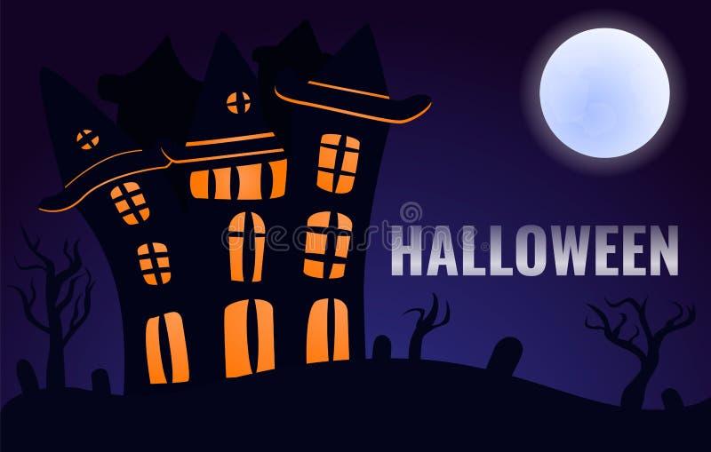 Fondo di concetto del castello di Halloween, stile del fumetto royalty illustrazione gratis