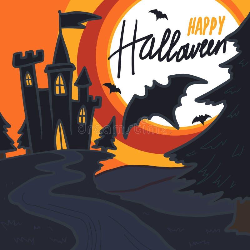 Fondo di concetto del pipistrello del castello di Halloween, stile disegnato a mano illustrazione vettoriale