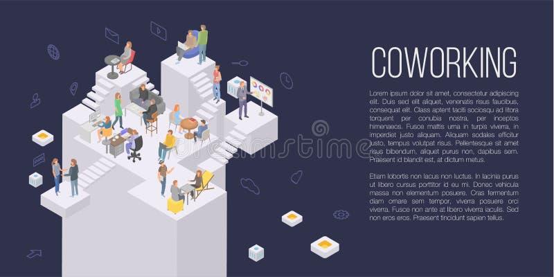 Fondo di concetto dell'ufficio di Coworking, stile isometrico illustrazione vettoriale