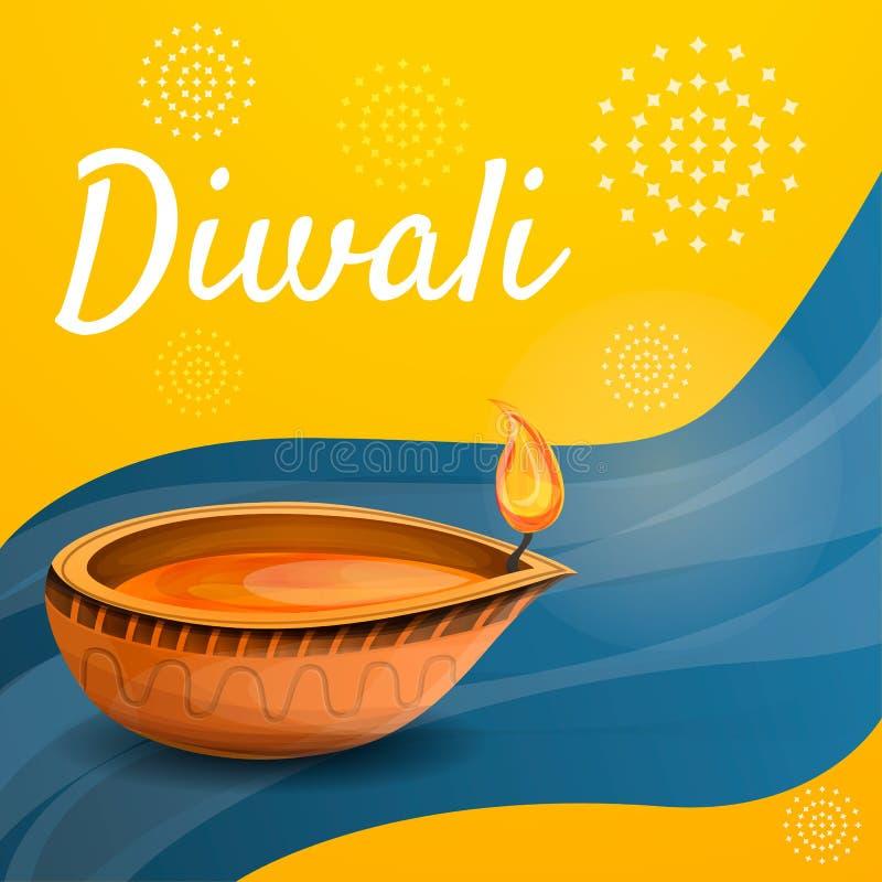 Fondo di concetto della candela di Diwali, stile del fumetto illustrazione di stock