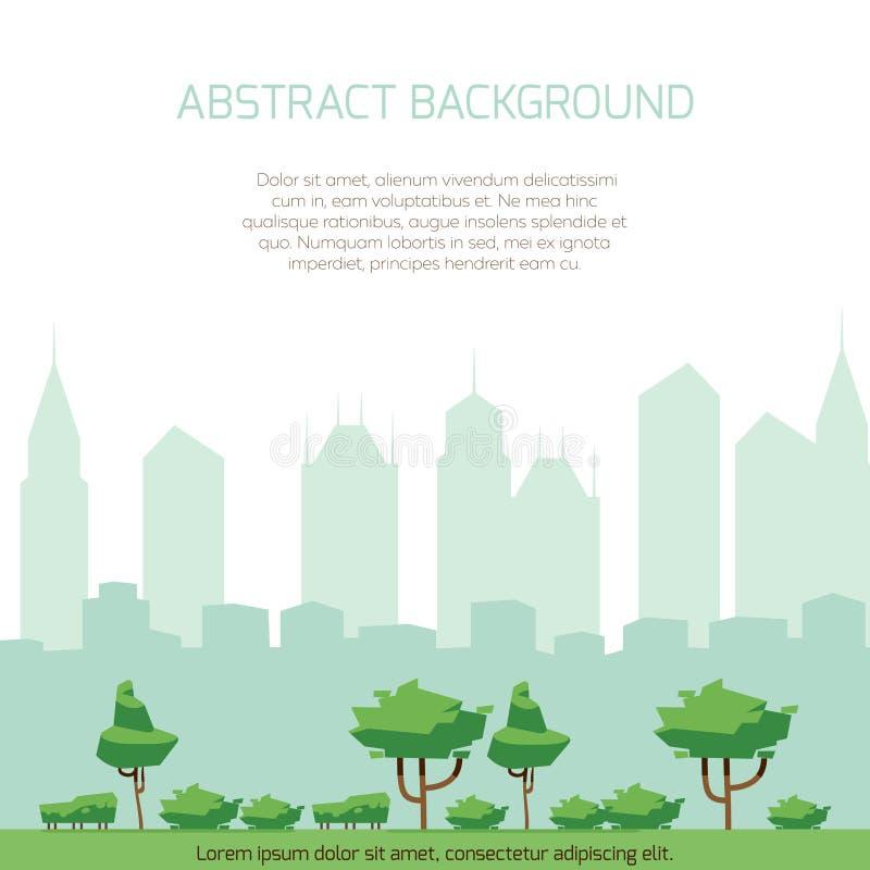 Fondo di concetto della città di Eco - la siluetta moderna della città ed il parco piano progettano royalty illustrazione gratis