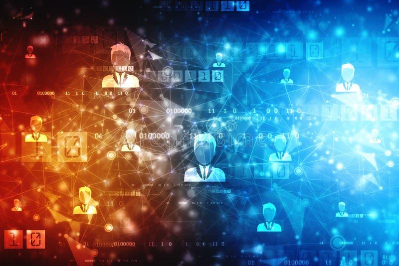 Fondo di concetto della rete di affari, reti sociali e concetto di interazione fotografie stock