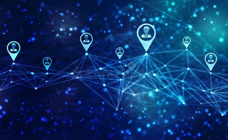 Fondo di concetto della rete di affari, reti sociali e concetto di interazione immagine stock