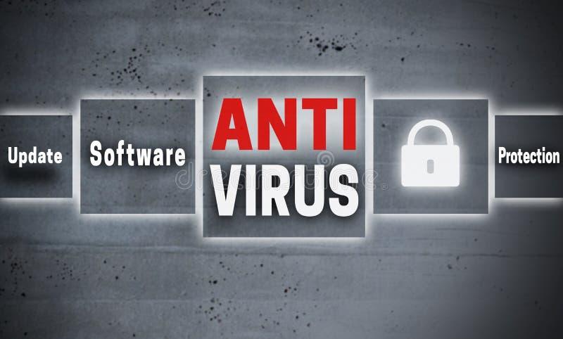Fondo di concetto dello schermo attivabile al tatto di antivirus immagine stock libera da diritti