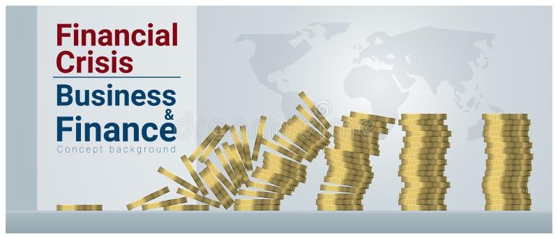 Fondo di concetto di finanza e di affari con la crisi finanziaria royalty illustrazione gratis