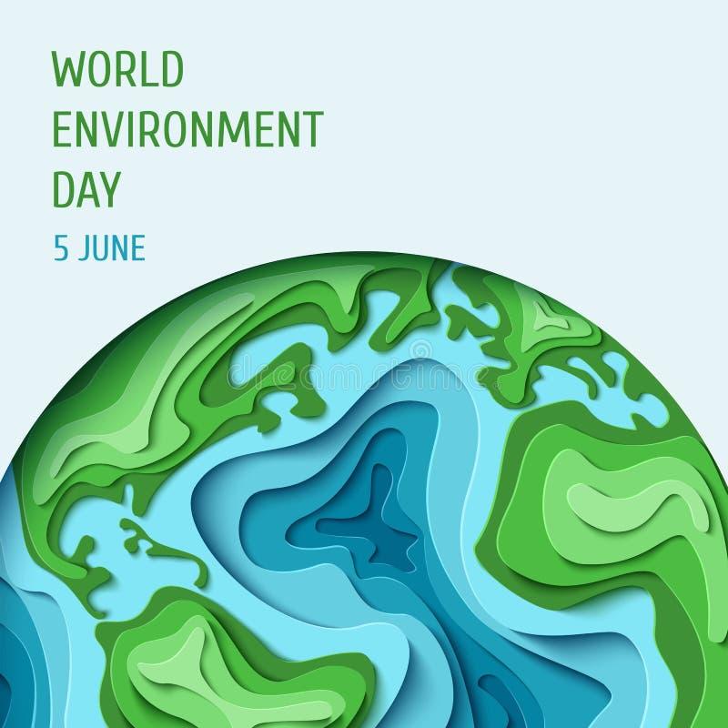 Fondo di concetto di Giornata mondiale dell'ambiente illustrazione di stock