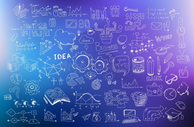 Fondo di concetto di sviluppo di affari con stile di progettazione di scarabocchio illustrazione di stock