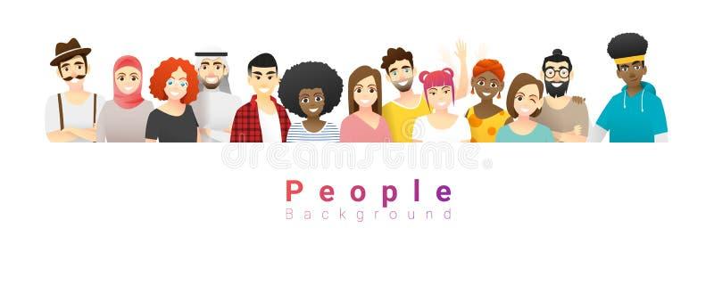 Fondo di concetto di diversità, gruppo di multi gente etnica felice che sta insieme illustrazione vettoriale