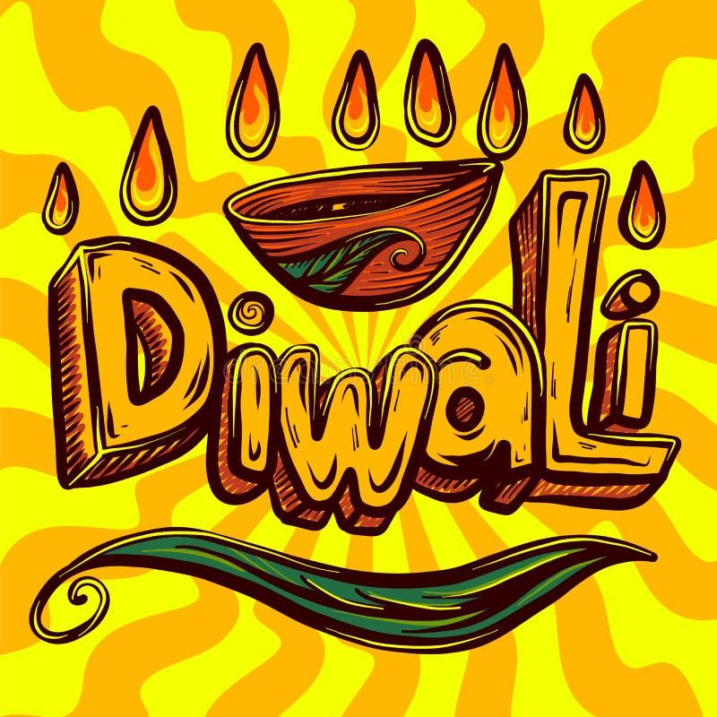 Fondo di concetto di Diwali, stile disegnato a mano royalty illustrazione gratis