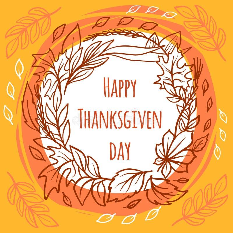 Fondo di concetto di giorno di ringraziamento, stile disegnato a mano illustrazione vettoriale