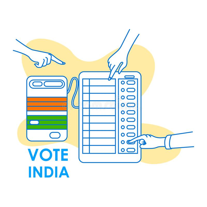 Fondo di concetto per il voto India per l'insegna di campagna di democrazia di elezione illustrazione di stock