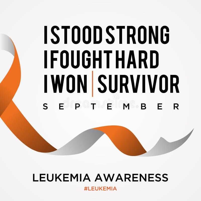 Fondo di consapevolezza del cancro di leucemia di citazione con il nastro nello stile piano illustrazione vettoriale