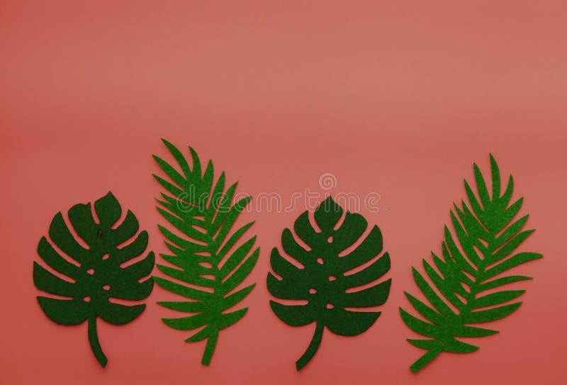 Fondo di corallo di estate di tendenza con le foglie di palma Un colore di 2019 Concetto di Flatlay fotografia stock