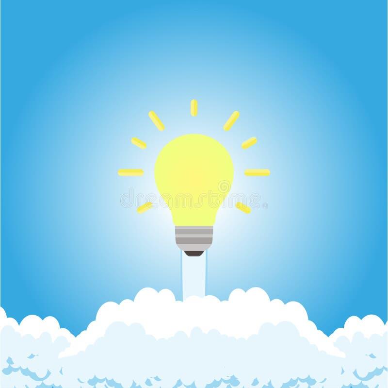Fondo di creatività di simbolo di idea di affari di tecnologia di concetto Soluzione innovatrice di futuro della lampadina di vet illustrazione di stock
