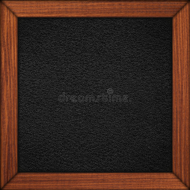 Fondo di cuoio nero nel telaio marrone di legno immagine stock libera da diritti