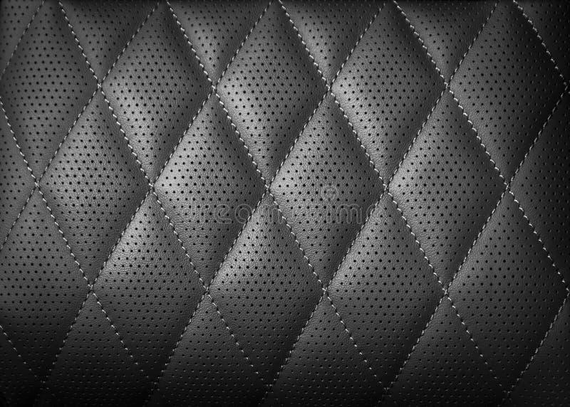 Fondo di cuoio perforato di struttura per progettazione, il nero scuro illustrazione vettoriale