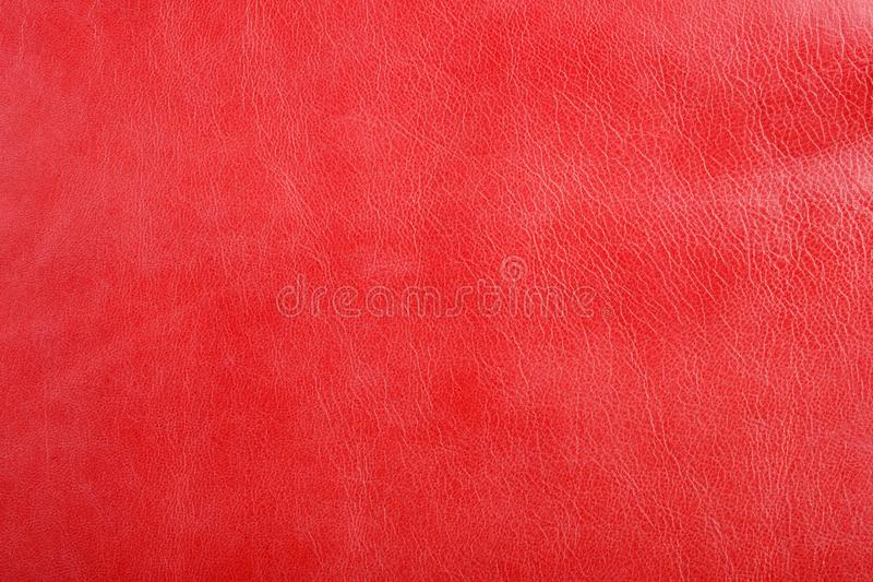 Fondo di cuoio rosso naturale di struttura fotografia stock
