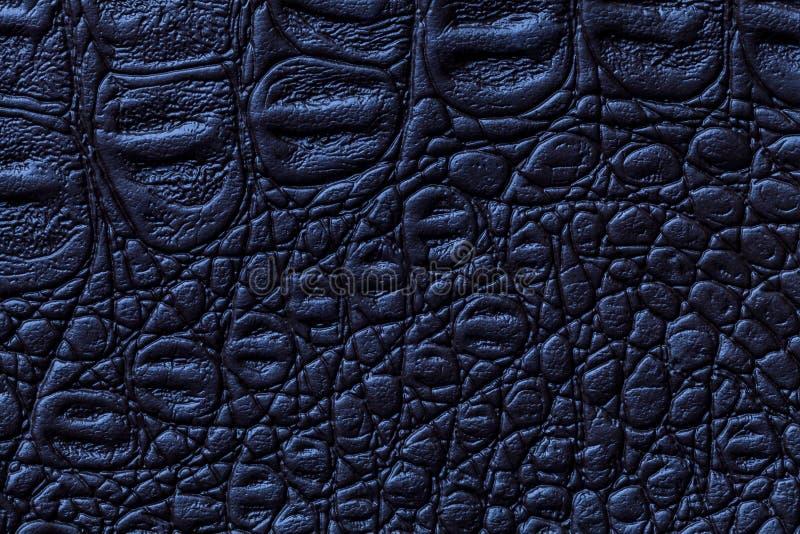 Fondo di cuoio di struttura dei blu navy, primo piano r fotografie stock