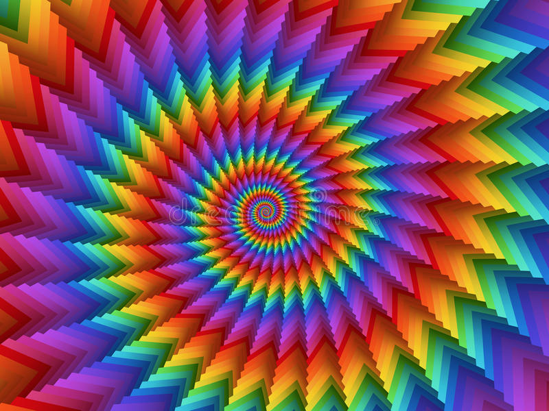 Fondo di Digital Art Hypnotic Abstract Rainbow Spiral fotografie stock libere da diritti