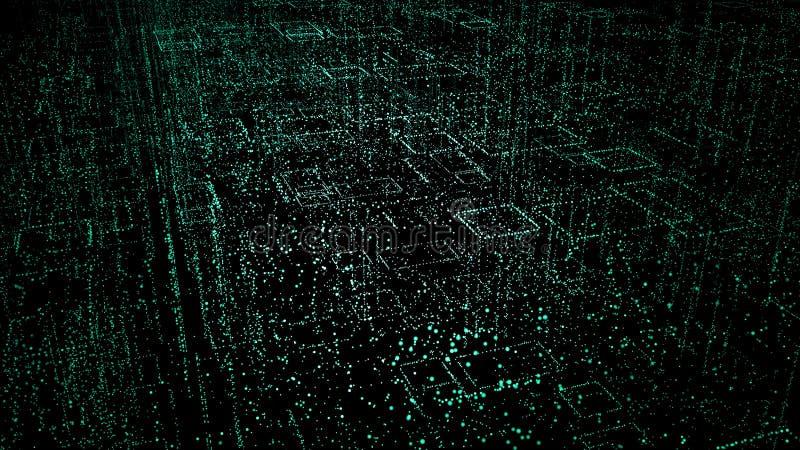 Fondo di Digital di spazio con le stelle concetto della città dei punti, il codice della matrice, fondo tecnologico illustrazione royalty illustrazione gratis