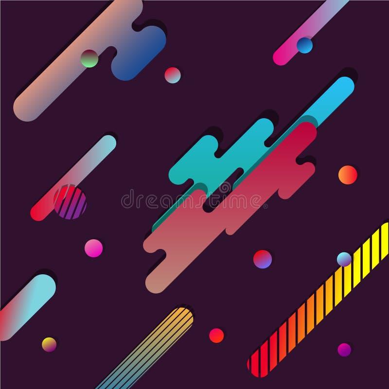 Fondo di Dinamic con le forme di carta geometriche multicolori orizzontali Illustrazione di vettore di progettazione moderna immagine stock libera da diritti