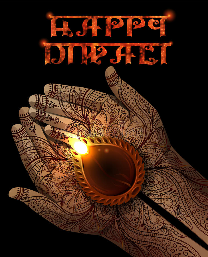 Fondo di Diwali con Diya in mani royalty illustrazione gratis